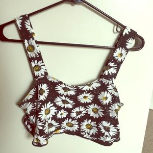 Forever21 daisy sunflower crop top